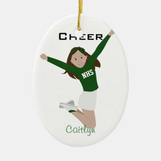Cheerleader Dark Brunette Green & White Ceramic Ornament