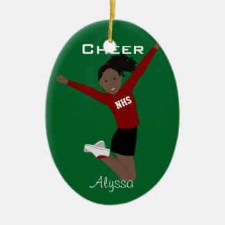 Cheerleader Dark Hair Red & Black Ceramic Ornament