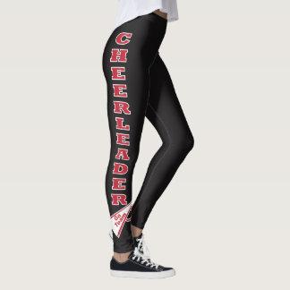 Cheerleader Dark Red Typography Letters Leggings