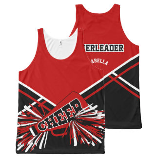 Cheerleader - Dark Red, White & Black All-Over-Print Tank Top