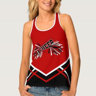 Cheerleader - Dark Red, White & Black Tank Top