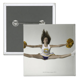 Cheerleader doing splits in mid air 2 inch square button
