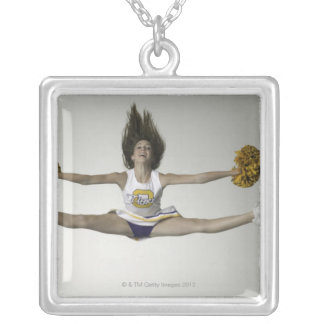 Cheerleader doing splits in mid air silver plated necklace