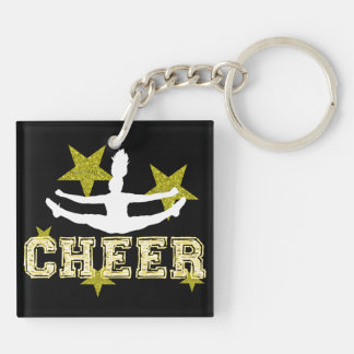 Cheerleader Double-Sided Square Acrylic Keychain
