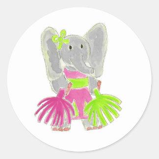 Cheerleader Elephant Classic Round Sticker