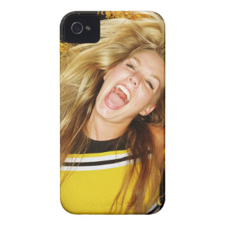 Cheerleader flipping hair, laughing, surrounded iPhone 4 case