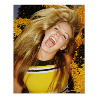 Cheerleader flipping hair, laughing, surrounded poster