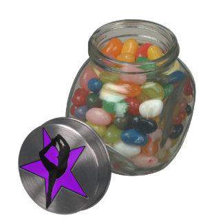 Cheerleader flyer in purple Jelly Belly candy jar