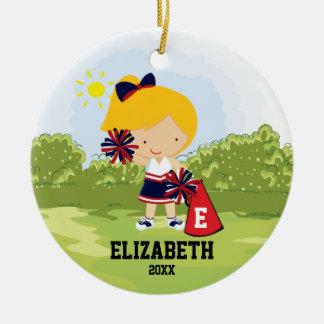 Cheerleader Girl Christmas Ornament Black Gold