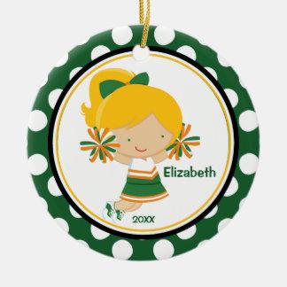 Cheerleader Girl Christmas Ornament Green Gold