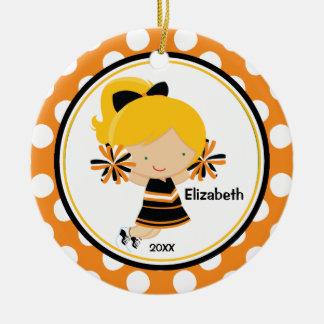 Cheerleader Girl Christmas Ornament Orange Black