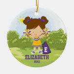 Cheerleader Girl Christmas Ornament Purple Yellow