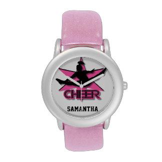 Cheerleader  glitter wrist watch in pink