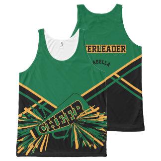 Cheerleader - Gold, Dark Green & Black All-Over-Print Tank Top