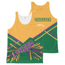 Cheerleader -Gold, Green & Purple All-Over-Print Tank Top