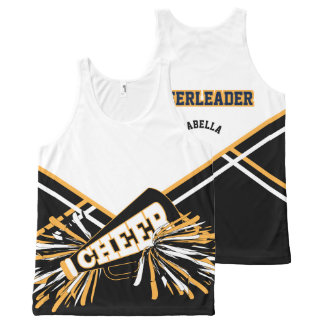 Cheerleader -Gold, White & Black All-Over-Print Tank Top