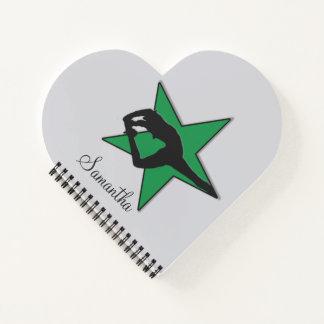 Cheerleader green flyer heart notebook