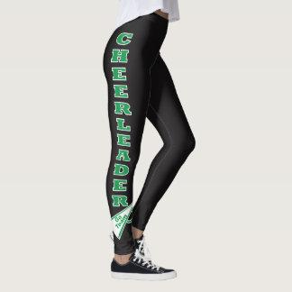 Cheerleader Green Typography Letters Leggings