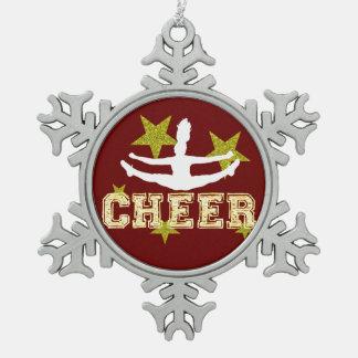 Cheerleader gymnast snowflake pewter christmas ornament