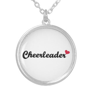Cheerleader heart silver plated necklace