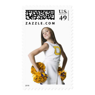 Cheerleader holding pom-poms stamp