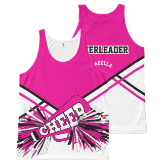 Cheerleader - Hot Pink, White & Black All-Over-Print Tank Top