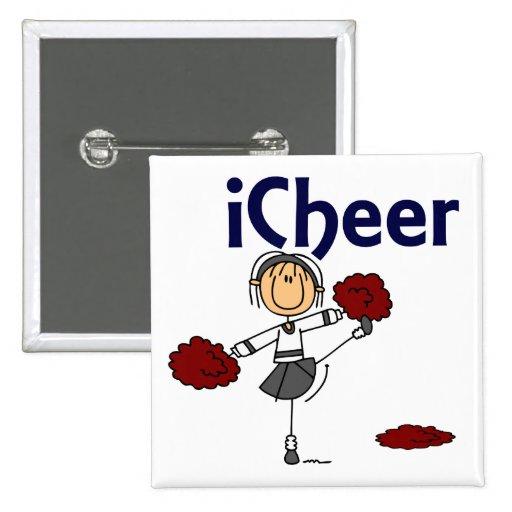 Cheerleader I Cheer Stick Figure Pin