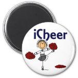 Cheerleader I Cheer Stick Figure 2 Inch Round Magnet