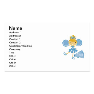 Cheerleader in Blue Business Card Templates
