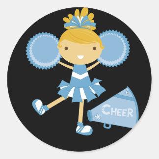 Cheerleader in Blue Classic Round Sticker