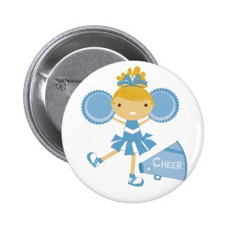 Cheerleader in Blue Pinback Button
