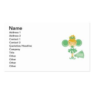 Cheerleader in Green Business Cards