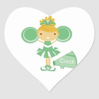 Cheerleader in Green Heart Sticker