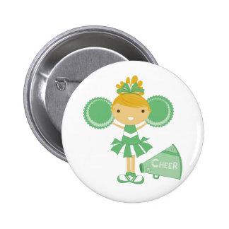 Cheerleader in Green Pinback Button