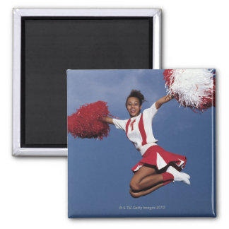 Cheerleader in mid-air magnet