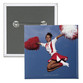Cheerleader in mid-air pinback button