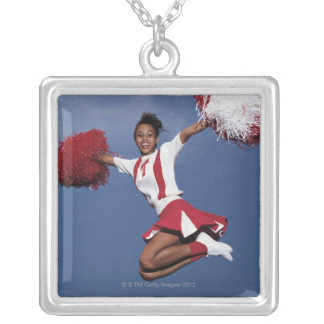 Cheerleader in mid-air silver plated necklace