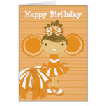 Cheerleader in Orange Personalized Birthday Cards