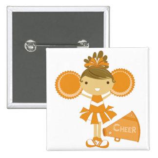 Cheerleader in Orange Pinback Button