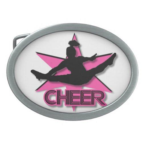Cheerleader in pink oval belt buckle