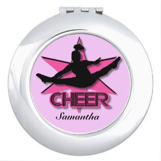 Cheerleader in Pink round compact mirror