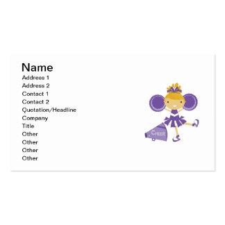 Cheerleader in Purple Business Card Template