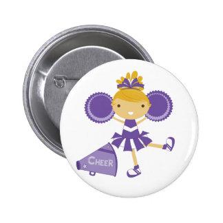Cheerleader in Purple Pinback Button