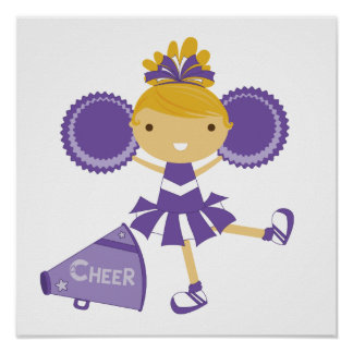 Cheerleader in Purple Print