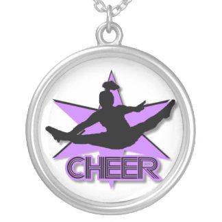 Cheerleader in purple round pendant necklace