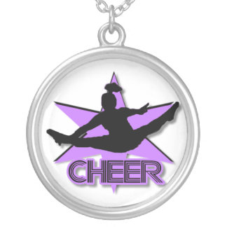 Cheerleader in purple silver plated necklace