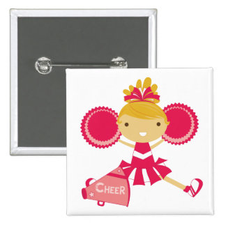 Cheerleader in Red 2 Inch Square Button