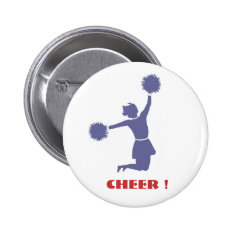 Cheerleader In Silhouette Badge Button at Zazzle
