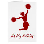 Cheerleader In Silhouette Birthday Party Card at Zazzle
