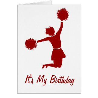 Cheerleader In Silhouette Birthday Party Card Greeting Card